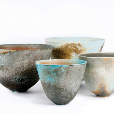 Porcelain soda-fired vessels by Jack Doherty