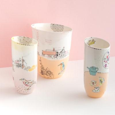 Slipcast bone china vessels with illustrated decoration
