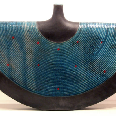 Thrown vessel in black and blue
