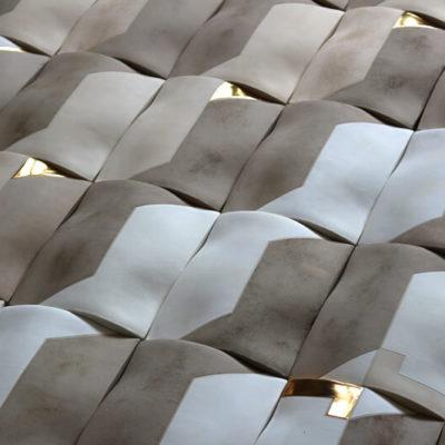 Ceramic 'pillow form' tiles